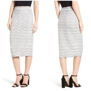Chelsea28 Stripe Pencil Midi Skirt